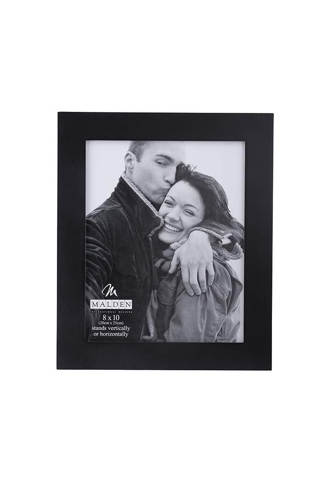 Malden Extra Wide Real Wood Molding Glass Picture Frame, 8'' x 10'', Black