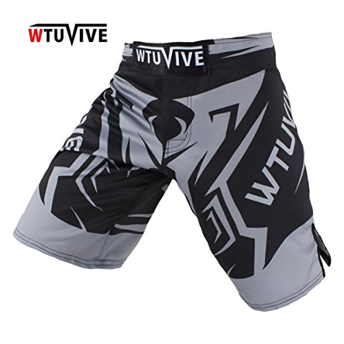 WTUVIVE Men's Gray Sharp Combat Sports Breathable Fitness Boxing Shorts Tiger Muay Thai Boxing Clothing MMA Shorts