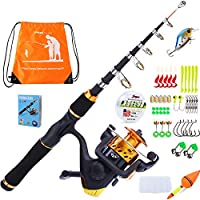 YONGZHI Kids Fishing Pole with Spinning Reels,Telescopic...