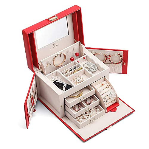 Vlando Mirrored Wooden Jewelry Box Organizers for Girls Women, Necklaces Earrings Rings Watches Storage Case Holder, Red from Vlando