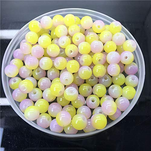 New 8mm 30Pcs Double Colors Glass Round Pearl Loose Beads Jewelry Making #8m37