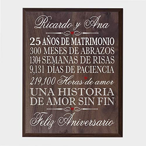LifeSong Milestones Personalized Spanish 25th Wedding Anniversary Wall Plaque Gift for her, him, Husband, Wife, Couples 12