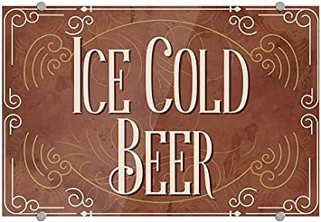 CGSignLab Victorian Card Premium Acrylic Sign Ice Cold Beer 27x18
