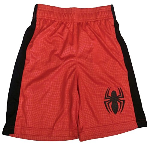 Bundled Brands Boys Youth Printed Performance Basketball Athletic Shorts (XSmall 4/5, Red - Spiderman)
