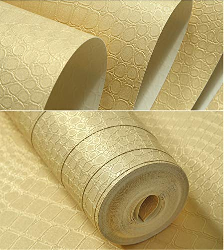Beige Leather Finish Living Room - 0.53cm x 10m,Luxury Wallpaper Rolls 8 Colors Wall Mural Wallpaper for Living Room European Crocodile Skin Leather Imitation Finish,Beige