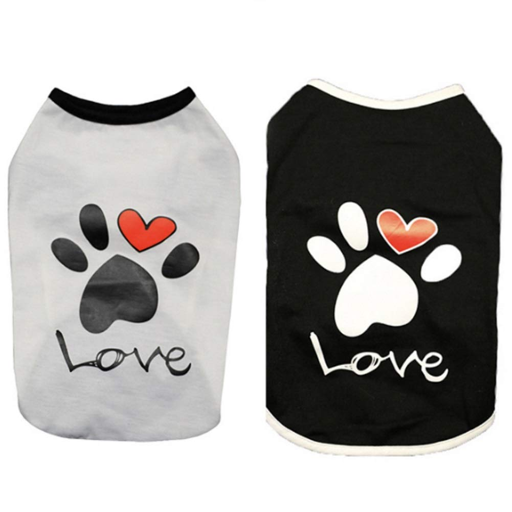 5662ae009035 CheeseandU 2019 New 2Pcs Summer Dog Clothes Pet Vest Puppy Dog Cute Cool  Soft Cotton Shirt with Paw Love Printed Sleeveless T-Shirt for Teddy Poodle  Small ...