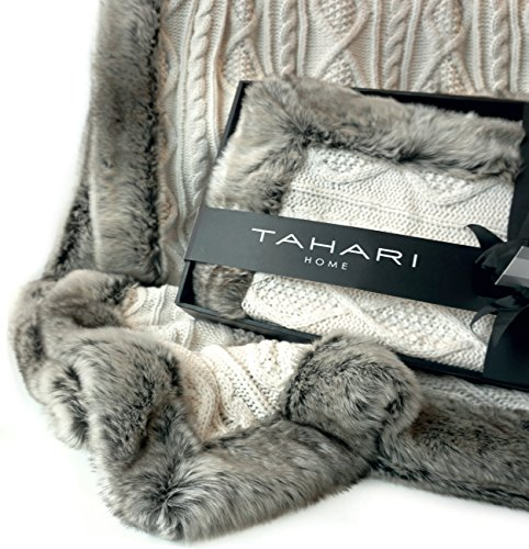 Tahari Home Chunky Cable Knit Throw with Faux Fur Trim Freya Knitted Sweater Blanket in Winter White and Chinchilla Grey