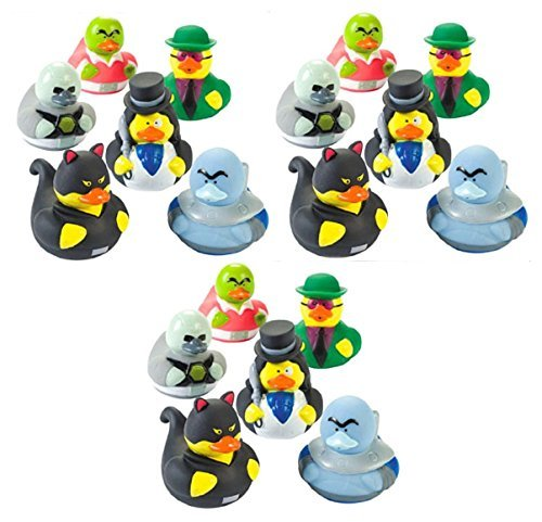 Lot Of 18 Super Villain Rubber Ducks Party Favors - Villian Duckys Gifts ()