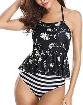 ea14d59bb5 Yonique Women Halter Peplum Tankini Set Flounce Two Piece Bathing Suit  Black at Amazon Women's Clothing store: