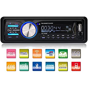 GeMoor Car Stereo Receiver with Bluetooth In-Dash, Single Din Car Radio, MP3 Player/USB/SD/AUX/FM Radio, Wireless Remote Control