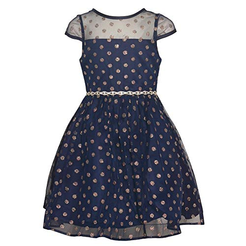 Rare Editions Little Girls Navy Glitter Dot Tea-Length Christmas Dress 5 (Editions Christmas Rare Dress)
