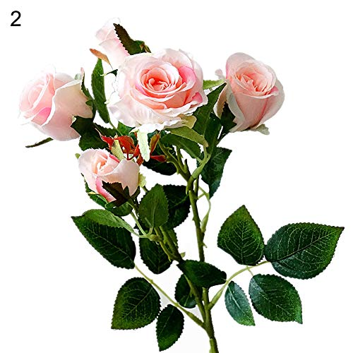 HsgbvictS Artificial Flowers 1Pc Rose Flower Plant Simulation Lifelike Home Party Wedding Decor - Light ()