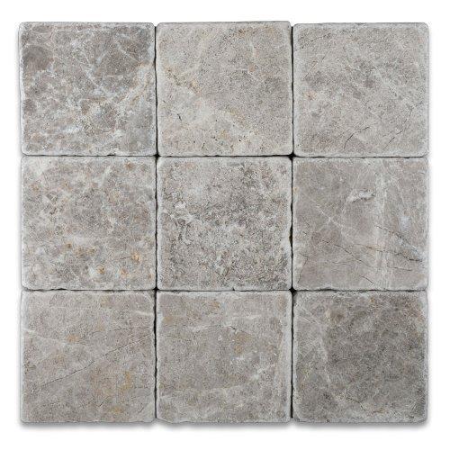 Silverado Gray 4X4 Marble Tumbled Mosaic - Tile Backsplash Slate