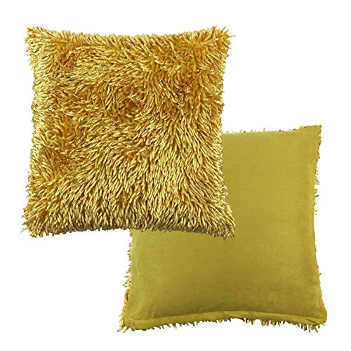 2 X Filled Luxurious Ochre Yellow Gold Shaggy Chenille Twist Thick Supersoft 17