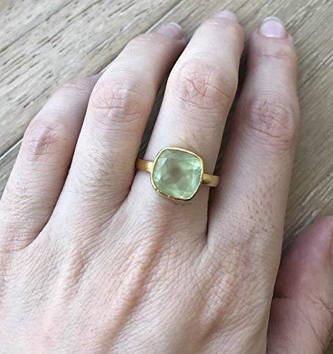 Prehnite Green Gemstone Stackable Ring