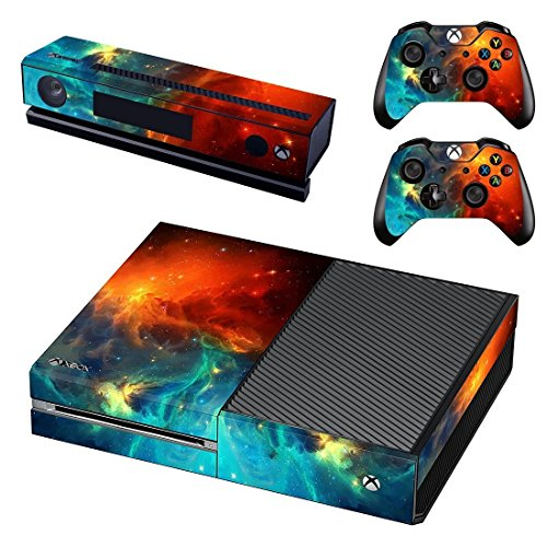 UUShop Protective Vinyl Skin Decal Cover for Microsoft Xbox One Console wrap sticker skins with two...