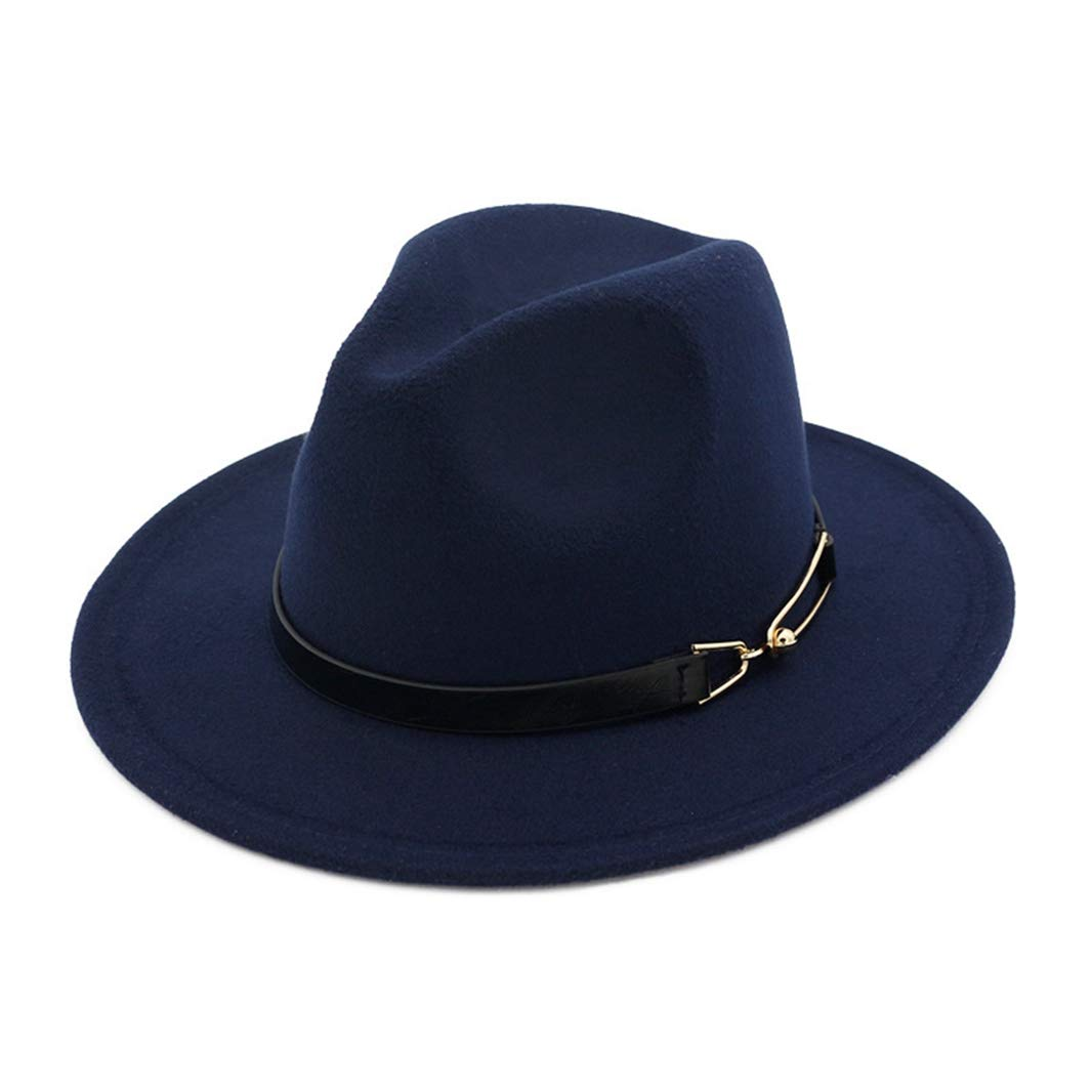 Autumn Winter Fedora Women Men Wool Felt Jazz Bucket Hats with Belt Wide Brim Travel Beach Sun Cap for Vacation