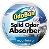 OdoBan Mountain Air Solid Odor Absorber Air Freshener Gel, Dye-Free, Eliminates Odor, continuous odor contro,1 oz.