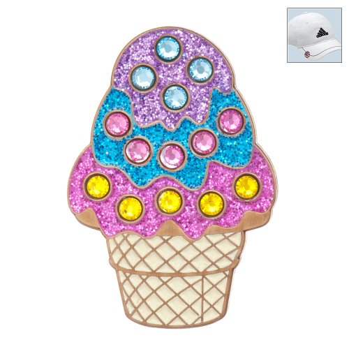 Bonjoc Swarovski Crystal Golf Ball Marker & Hat Clip - Sparkly Scoops Icecream Cone