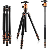 Camera Tripod, KetDirect Aluminium Compact Lightweight Professional Camera Tripods For Cameras monopod With 360 Degree Ball Head and Carry Case For Canon Nikon Sony Olympus DSLR Cameras(Orange)