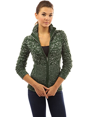 PattyBoutik Women's Mock Neck Marled Zip Up Cardigan (Green and White S) ()