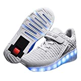 AIkuass USB Chargable LED Light Up Single Roller Shoes Wheeled Skate Sneaker Shoes for Kids Boys Girls