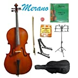 GRACE 1/8 Size Natural Cello with Bag and Bow+Rosin+Extra Set of Strings+Tuner+Cello Stand+Music Stand