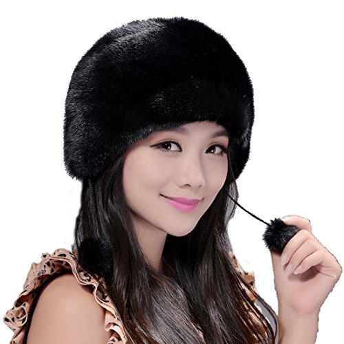 Women's Mink Fur Roller Hat with Mink Pom Poms (One Size, Black) by Starway0311