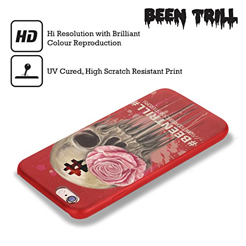 Official Been Trill Splatter Floral And Skulls Red Leather Back Case Cover For Apple iPhone 6 / 6s