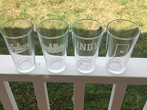 Indianapolis Glasses Gift Set- 4 Pint Glasses - Indianapolis - Indiana - Indinapolis Beer - Barware - Indy - Colts - Hoosiers