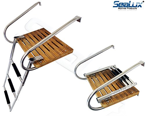 SeaLux Marine Teak Swim Platform with Over TOP Mount 3-Step Ladder and 2 handrails for inboard Motor