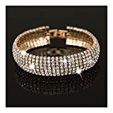 Extra Long Fashion Statement Silver Gold Black Rhinestone Crystal Drop Earrings or Bracelet Bridal Wedding Jewelry (Gold Bracelet)