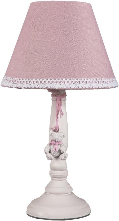 Lámpara de mesa Little Bear Rosa Blanco vintage habitación de los ...