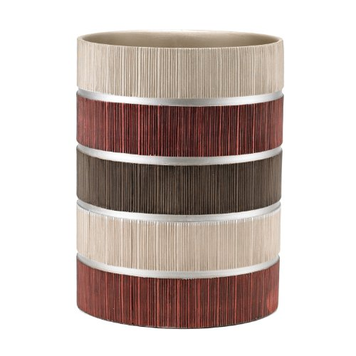 Popular Bath Waste Basket, Modern Line Collection, Burgundy/Brown -