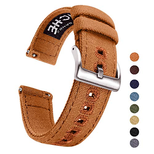 20mm Brown Canvas Quick Release Watch Bands Compatible with Timex Weekender Watch Straps for - Band Canvas
