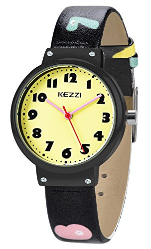 Dovoda watch for girls boys easy reading times teacher yellow dial black leather kids watches for Dovoda watches
