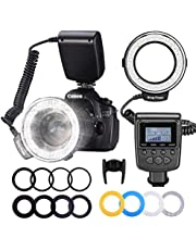 Neewer RF550D, 48 Macro LED Anillo Flash Bundle con Pantalla LCD,Control de Potencia,Anillos Adaptadores y Difusores Flash