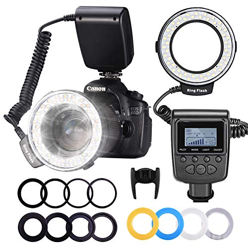 Neewer 48 Macro LED Ring Flash Bundle with LCD Display Power Control, Adapter Rings and Flash Diffusers for Canon 650D,600D,550D,70D,60D,5D Nikon D5000,D3000,D5100,D3100,D7000,D7100,D800,D800E,D60 (Best Macro Lens For Nikon D7100)