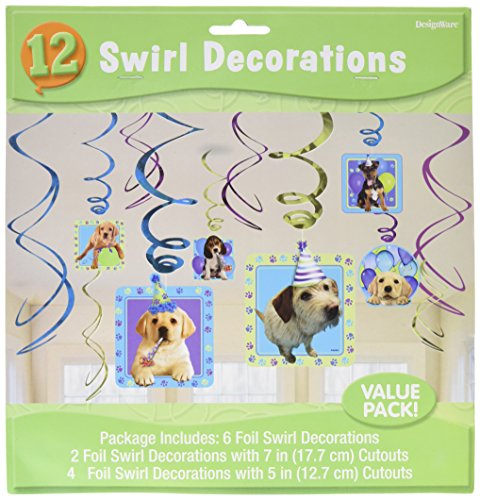 Amscan Adorable Party Pups Swirls Decorations Value Kit, Multicolor, 24