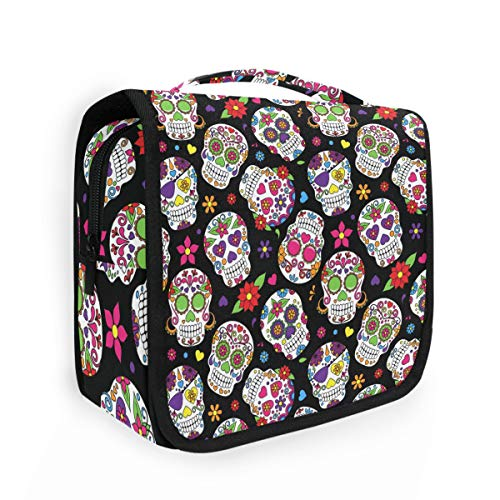 CaTaKu Mexican Skull Floral Cosmetic Bag Toiletry Bag Multifunction Bag Cosmetic Portable Makeup Waterproof Travel Hanging Organizer Bag for Men & Women