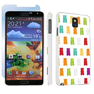 Samsung Galaxy Note 3 III White Designer Hard Case + Screen Protector By SkinGuardz - White Gummy Bear
