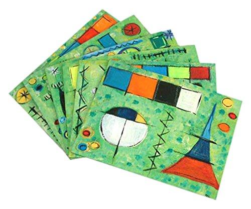NOVICA TWE0261 Surreal Fantasy' (Set of 6) Placemats and Coasters, Green