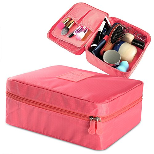 Price comparison product image Zodaca Grooming Travel Bag Organizer Cosmetic Carry Case Toiletry With Brush Holders (8.27'' X 6.7'' X 3.35''),  Coral