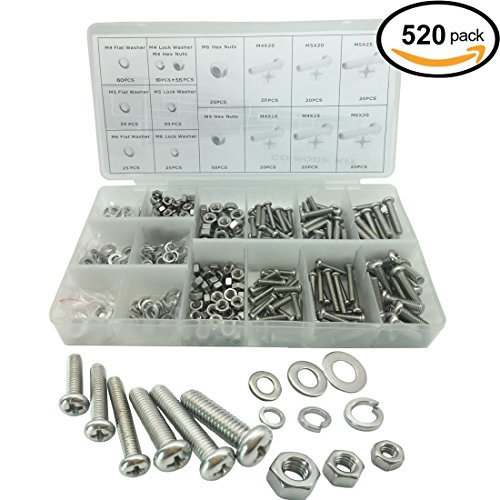 520PCS Stainless Steel Metric Pan Head Philips Machine Bolts Nuts with Lock and Flat Washers Kit