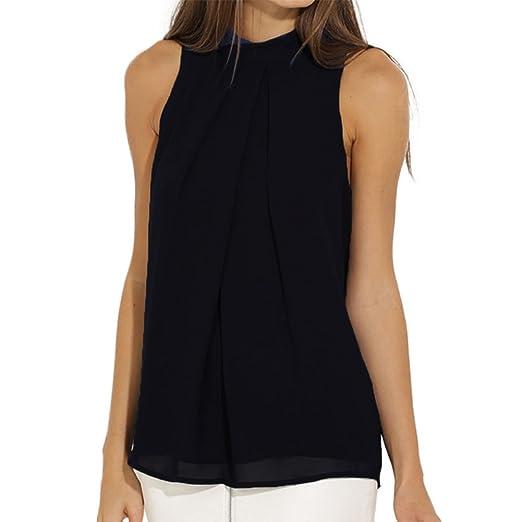 fc47980f953 EFINNY Women Summer Chiffon Sleeveless Blouse Tank Shirt Dark Blue