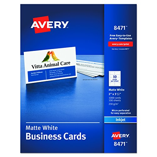 Avery Dennison Coated Paper (Avery 8471 Printable Microperf Business Cards, Inkjet, 2 x 3 1/2, White, Matte (Box of 1000))