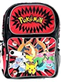 "Nintendo Pokemon Pikachu Plusle & Minun 16"" Canvas Black School Backpack-Red"