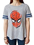 Spiderman Stencil Head Junior's Heather Gray T-shirt M