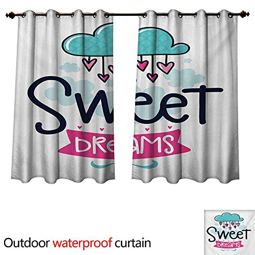 Hanging Estrella Outdoor (WilliamsDecor Sweet Dreams Outdoor Balcony Privacy Curtain Cartoon Hanging Hearts from a Cloud with Scale Pattern Simplistic Kids Design W63 x L72(160cm x 183cm))