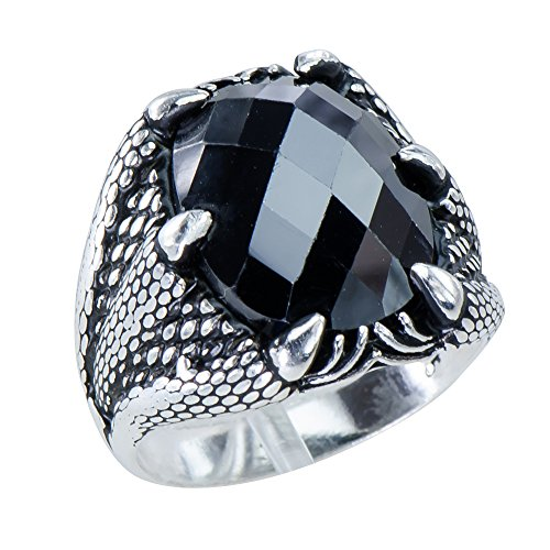 - Classic Men's Soaring Eagle Claw Black Cz 925 Sterling Silver Statement Ring Size 11